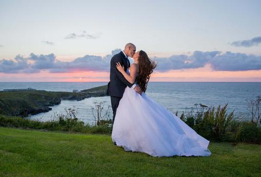 sunset wedding cornwall