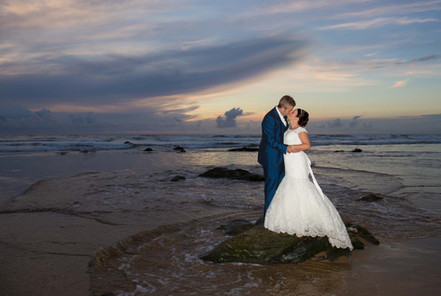 watergate bay sunset beach wedding photographs