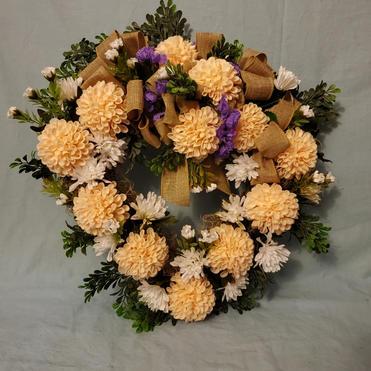 Dahlia heart grapevice wreath