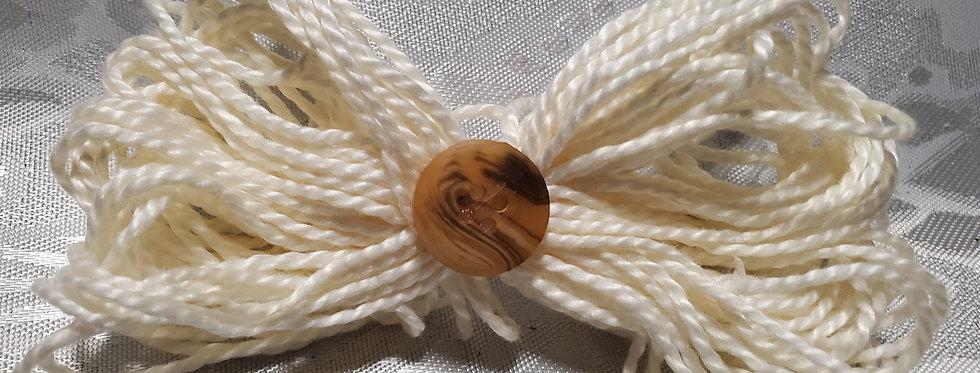 Cream button bow
