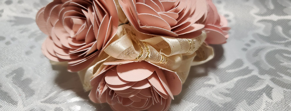 Pink Paper roses Bow