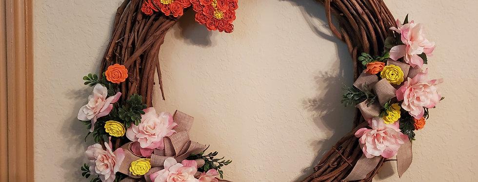 Butterfly grapevine wreath