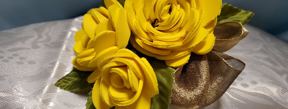 Yellow Foam flower forever corsage