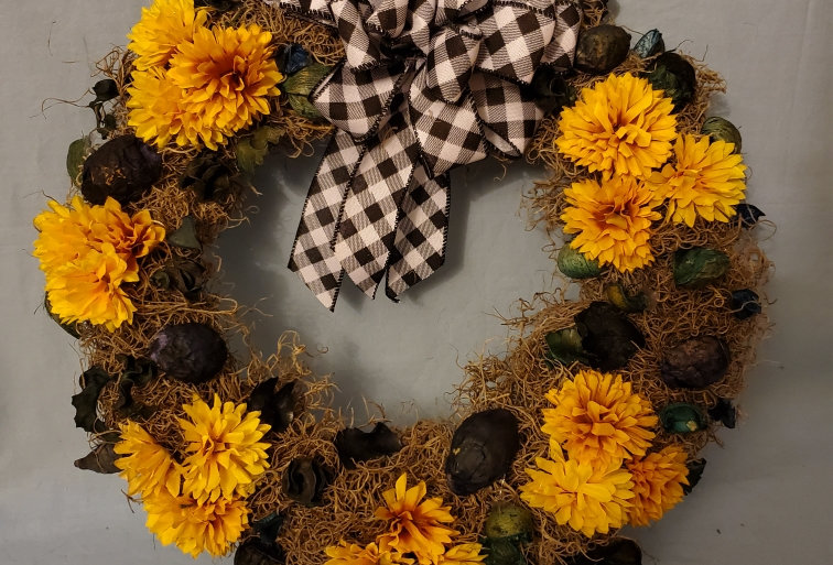Yellow mum and dried flower wreath