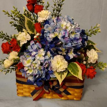 Patriotic floral picnic basket