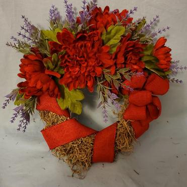 Red mum wreath