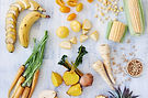 Healthy assortment of yellow foods