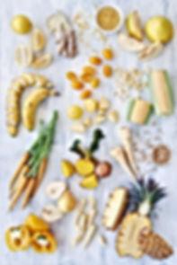Zdrowy asortyment żywności żółty