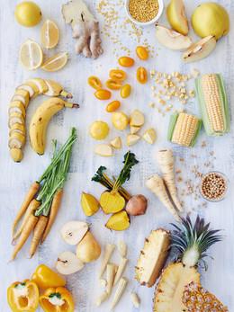 Gesunde Auswahl an gelben Lebensmittel