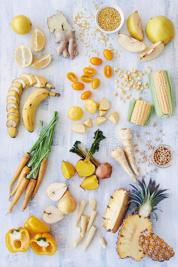 Healthy assortment of yellow foods