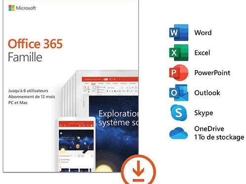 Office 365 Famille | jusqu'à 5 utilisateurs | 1 an | téléchargement