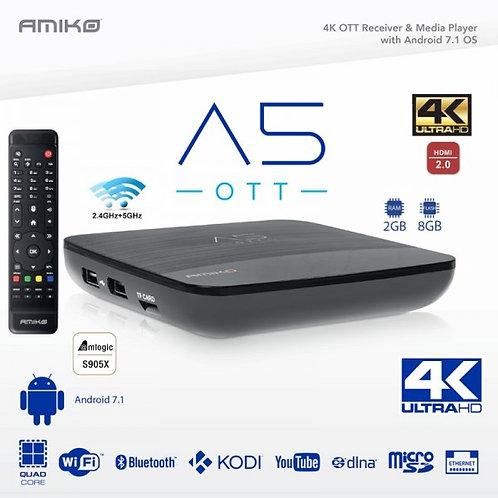AMIKO A5 OTT 4K UHD HDR Set-Top Box Android 7.1 RAM 2Go/8Go FLASH WiFi