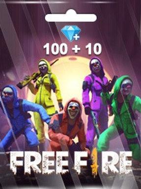 FREE FIRE 100 + 10 DIAMONDS PINS (GARENA)