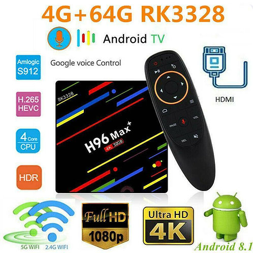 H96 MAX Plus + Voice Control Android 9.0 Smart TV Box 4G+ 32GO 4K