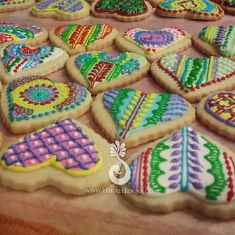 Henna Designs with icing on heart cookies