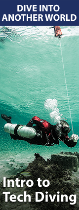 TDI Intro To Tech (Введение в Техно):  2-3 дня Максимальная глубина тренировок 30м  Цена 250 Euro (включая снаряжение и сертификат)  Входные требования:  Advanced Diver (любой федерации)