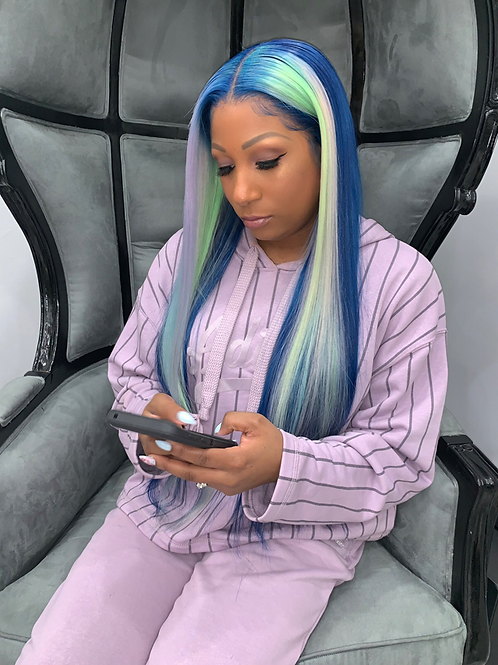 "Custom ""Blue Angelite"" Full Lace Wig 24"""