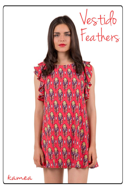 vestido feathers