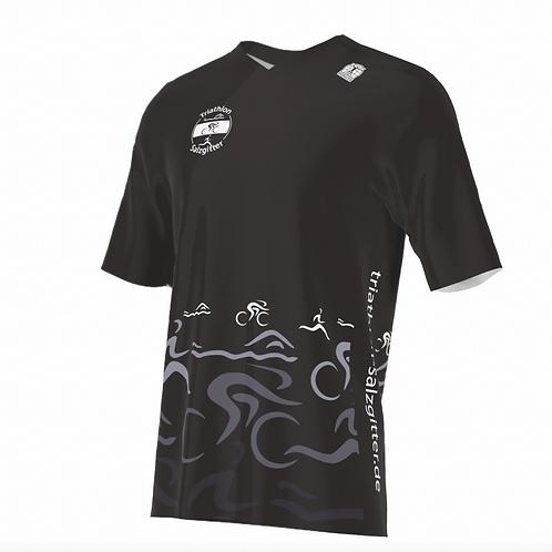 Lauf-Shirt kurzarm V-Kragen schwarz m/w