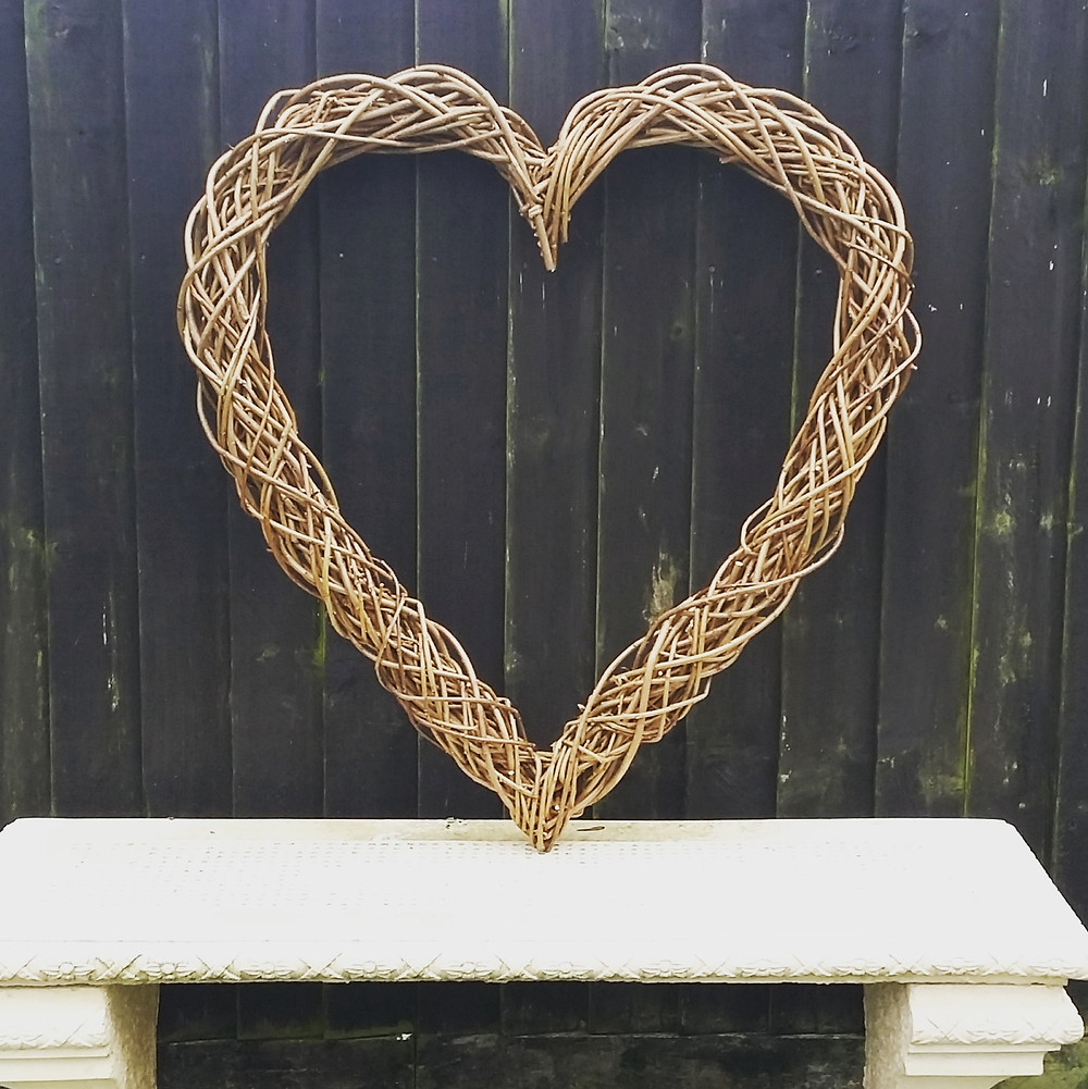 Large natural willow heart wreath handmade floral base
