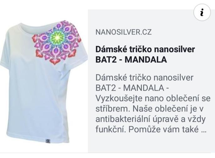 Dámské tričko nanosilver MANDALA - VHODNÉ NA JÓGU