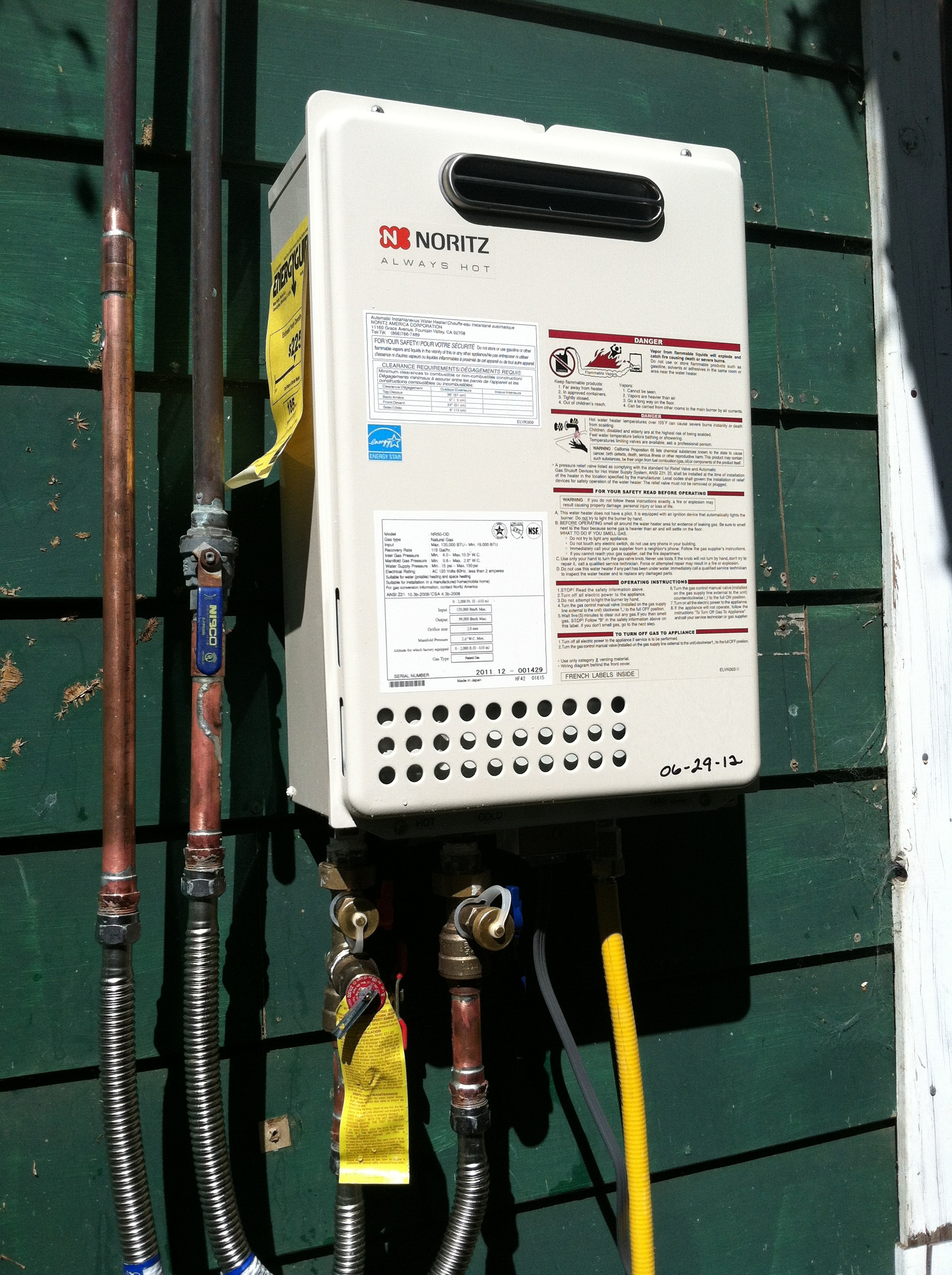 Outside Noritz Tankless Heater