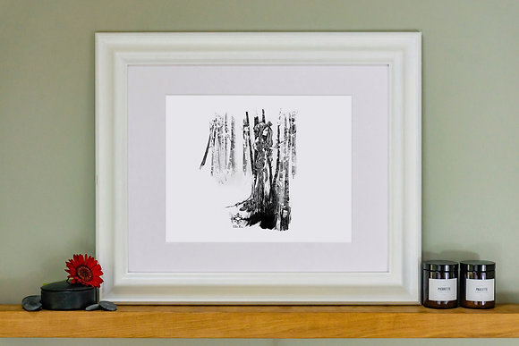Huldra Girl Magical Forest Sprites Trees Art Print
