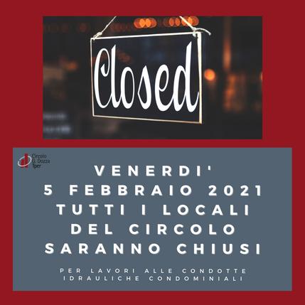 Locali chiusi venerdì 5 febbraio 2021