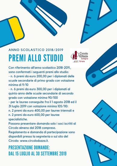 Bando Premi allo Studio 2018/2019