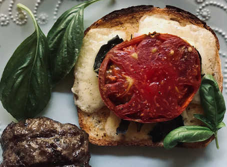 Fancy Grilled Cheese with Beef Patties & Pesto