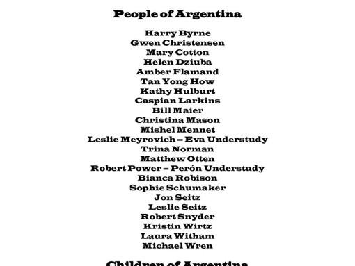 Evita Crew Announces Cast List!