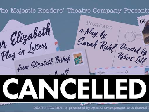 ANNOUNCEMENT: April's Readers' Theatre show cancelled