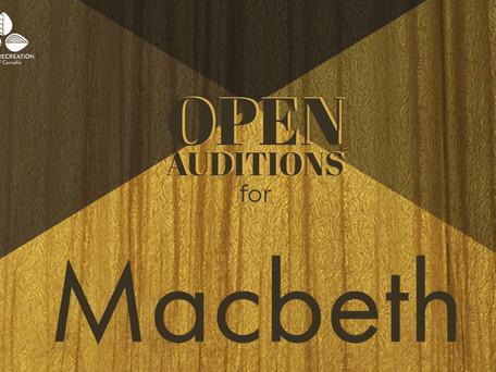 OPEN AUDITIONS: Majesticpiece Theatre presents Macbeth