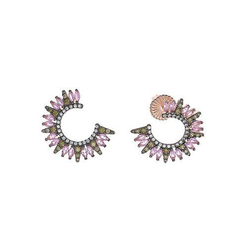Pendientes forma en plata rosa con circonitas rosas y verdes