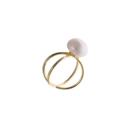 Anillo plata dorada con perla barroca