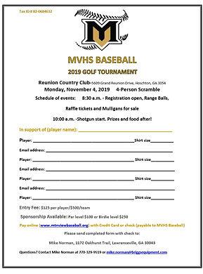 MVHS Baseball Golf Tournament Player For
