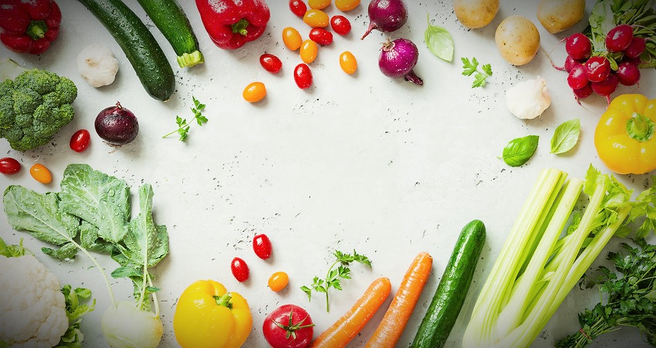 White background with assorted fresh produce
