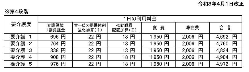 オンベリーコ 短期入所 料金表.JPG