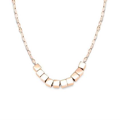 Box Pendant Necklace - Rose Gold