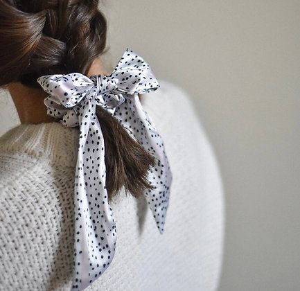 Coconut Lane Dalmatian Satin Bow Scrunchie
