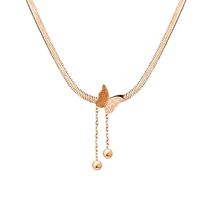 Frosted Butterfly Necklace - Rose Gold