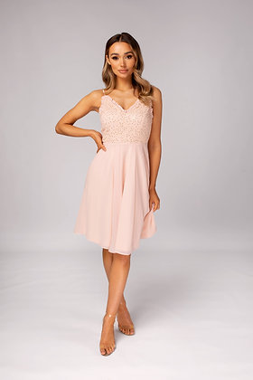 Skirt & Stiletto Vina Lace with Sequin Midi Dress - Pink