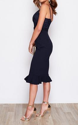 Girl In Mind Carolina Lace Top Frill Hem Midi Dress