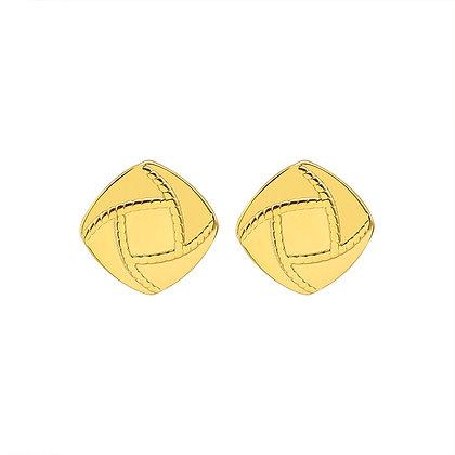 Retro Geometric Square Earrings - Gold