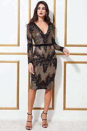 Goddiva Long Sleeve Sequin Party Midi Dress