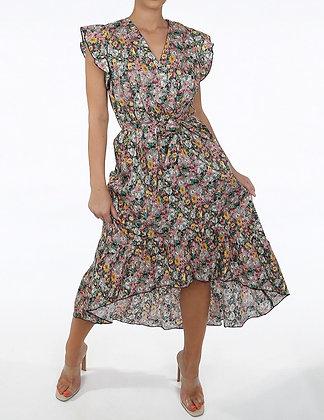 Yu & Me Floral Print V Neck Asymmetric Dress
