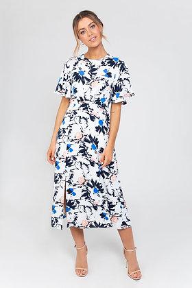 Zibi London Tina Midi Dress in Multi Blue
