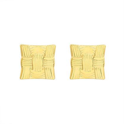 Retro Line Square Geometric Earrings - Gold