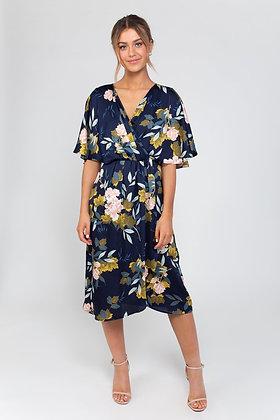Zibi London Frankie Kimono Sleeve Floral Dress Navy
