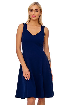 KDK London Navy Strap Detail Fit And Flare Dress